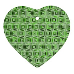 Classic Blocks,green Ornament (heart) by MoreColorsinLife