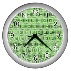 Classic Blocks,green Wall Clocks (silver)  by MoreColorsinLife