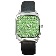 Classic Blocks,green Square Metal Watch by MoreColorsinLife