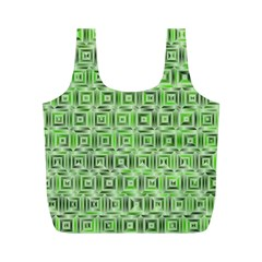 Classic Blocks,green Full Print Recycle Bags (m)