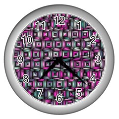 Classic Blocks,pink Combo Wall Clocks (silver)  by MoreColorsinLife