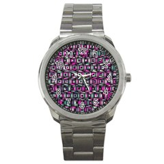 Classic Blocks,pink Combo Sport Metal Watch by MoreColorsinLife