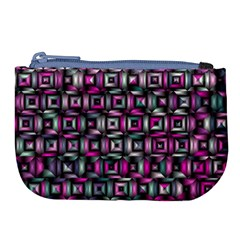 Classic Blocks,pink Combo Large Coin Purse