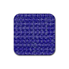 Classic Blocks,blue Rubber Coaster (square)  by MoreColorsinLife