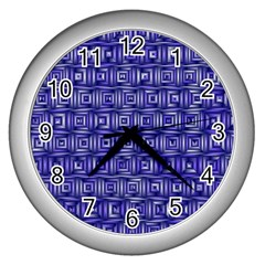 Classic Blocks,blue Wall Clocks (silver)  by MoreColorsinLife