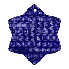 Classic Blocks,blue Snowflake Ornament (two Sides) by MoreColorsinLife
