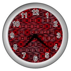 Classic Blocks,red Wall Clocks (silver)  by MoreColorsinLife