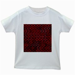 Classic Blocks,red Kids White T Shirts by MoreColorsinLife