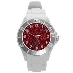 Classic Blocks,red Round Plastic Sport Watch (l) by MoreColorsinLife