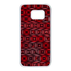 Classic Blocks,red Samsung Galaxy S7 White Seamless Case by MoreColorsinLife