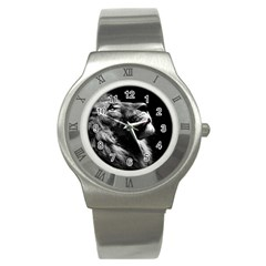 Male Lion Face Stainless Steel Watch by Celenk