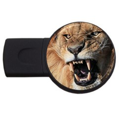 Male Lion Angry Usb Flash Drive Round (4 Gb) by Celenk