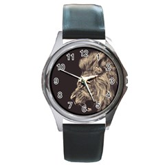 Angry Male Lion Round Metal Watch