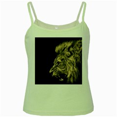Angry Male Lion Green Spaghetti Tank by Celenk