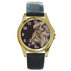 Angry Male Lion Round Gold Metal Watch by Celenk
