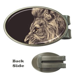 Angry Male Lion Money Clips (oval)
