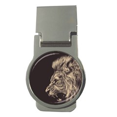 Angry Male Lion Money Clips (round)