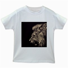 Angry Male Lion Kids White T Shirts