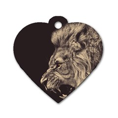 Angry Male Lion Dog Tag Heart (two Sides) by Celenk