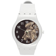 Angry Male Lion Round Plastic Sport Watch (m)