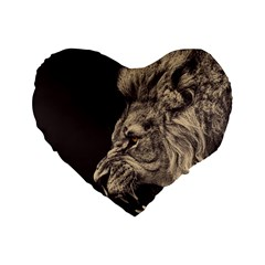 Angry Male Lion Standard 16  Premium Flano Heart Shape Cushions by Celenk