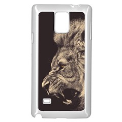 Angry Male Lion Samsung Galaxy Note 4 Case (white) by Celenk