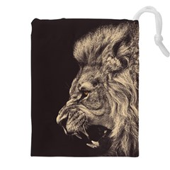 Angry Male Lion Drawstring Pouches (xxl) by Celenk