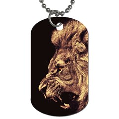Angry Male Lion Gold Dog Tag (two Sides) by Celenk