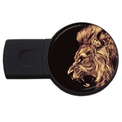 Angry Male Lion Gold Usb Flash Drive Round (2 Gb) by Celenk