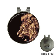 Angry Male Lion Gold Hat Clips With Golf Markers by Celenk