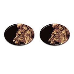 Angry Male Lion Gold Cufflinks (oval) by Celenk