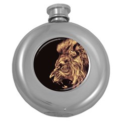 Angry Male Lion Gold Round Hip Flask (5 Oz)