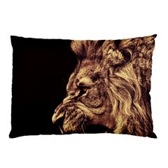 Angry Male Lion Gold Pillow Case (two Sides)