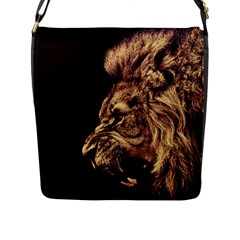 Angry Male Lion Gold Flap Messenger Bag (l)