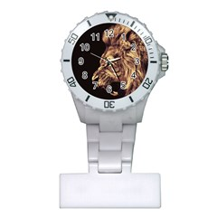 Angry Male Lion Gold Plastic Nurses Watch