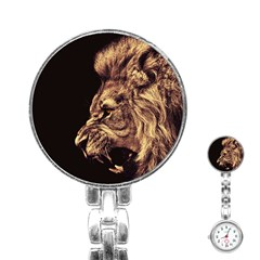 Angry Male Lion Gold Stainless Steel Nurses Watch