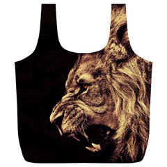 Angry Male Lion Gold Full Print Recycle Bags (l)