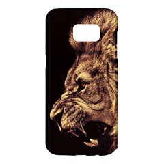 Angry Male Lion Gold Samsung Galaxy S7 Edge Hardshell Case