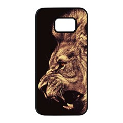 Angry Male Lion Gold Samsung Galaxy S7 Edge Black Seamless Case