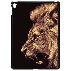 Angry Male Lion Gold Apple Ipad Pro 9 7   Black Seamless Case