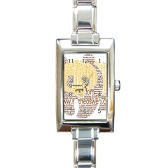 Panda Typography Rectangle Italian Charm Watch by Celenk