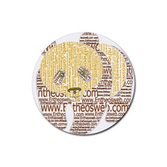 Panda Typography Rubber Round Coaster (4 Pack)