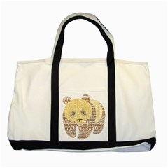Panda Typography Two Tone Tote Bag