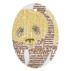 Panda Typography Oval Ornament (two Sides) by Celenk
