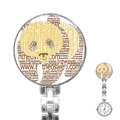 Panda Typography Stainless Steel Nurses Watch by Celenk