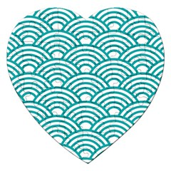 Art Deco Teal Jigsaw Puzzle (heart) by 8fugoso