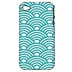 Art Deco Teal Apple Iphone 4/4s Hardshell Case (pc+silicone) by 8fugoso