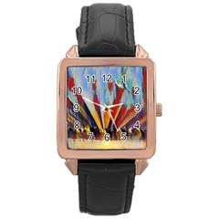 3abstractionism Rose Gold Leather Watch  by 8fugoso