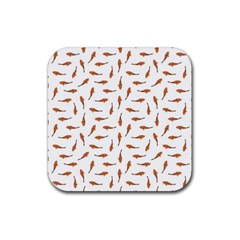Koi Fishes Motif Pattern Rubber Coaster (square)  by dflcprintsclothing