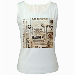 Vintage Newspapers Headline Typography Women s White Tank Top by yoursparklingshop